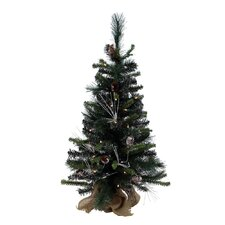 Glitter 3' Green Mixed Pine Artificial Christmas Tree with 50 Clear Lights