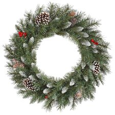 <strong>Vickerman Co.</strong> Frosted Tip Berry Wreath with 190 Tips