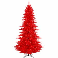 6.5' Red Fir Artificial Christmas Tree with 600 Mini Clear Lights