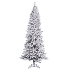 8' White Pine Artificial Christmas Tree with Stand and Flocked Pencil with Stand