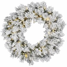 Flocked Snow Ridge Sprays Wreath with 100 LED Lights