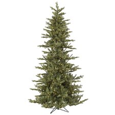 "Austrian 7' 6"" Green Fir Slim Artificial Christmas Tree with 500 LED Warm White Lights with Stand"