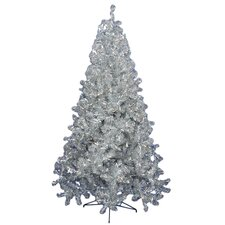 7' Silver Artificial Christmas Tree with 500 Clear Mini Lights with Stand