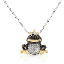 Alloy Brass Frog Prince Cubic Zirconia Pendant Necklace