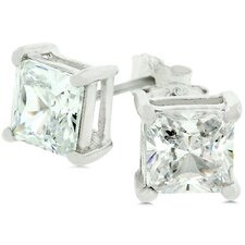 Sterling Silver Cubic Zirconia Charity Stud Earrings