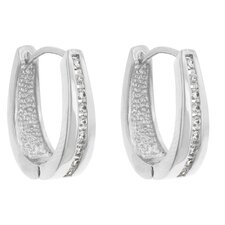 Elegant Silver-Tone Cubic Zirconia Hoops Earrings