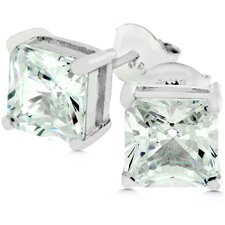 Sterling Silver Princess Gold Cubic Zirconia Earrings