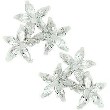 Sterling Silver Cubic Zirconia Flower Cluster Earrings