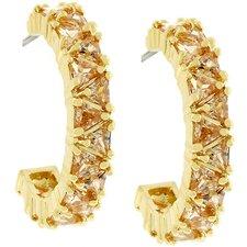 Gold-Bonded Trillion-Cut Hoop Earrings
