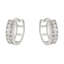Round Cut Clear Cubic Zirconia Huggie Earrings