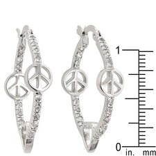 Peace Hoop Earrings and Various Silver Charms
