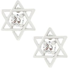 Silver-Tone Cubic Zirconia Star Of David Earrings