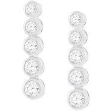 <strong>Kate Bissett</strong> Silver-Tone Bezel Cubic Zirconia Drop Earrings