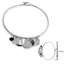 <strong>Kate Bissett</strong> Silver-Tone Cubiz Zirconia Heart Contemporary Bangle