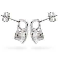 Silver-Tone Short Drop Clear Cubiz Zirconia Earrings