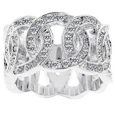 Silver-Tone Interlocking Circle Cubic Zirconia Fashion Band
