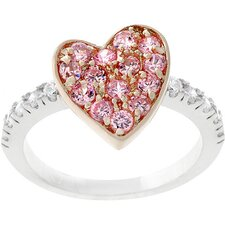 Two-Tone Pink Gold Heart with Pink Cubic Zirconia Ring