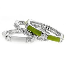 Enamel Green and White Cubic Zirconia Stackable Ring Set