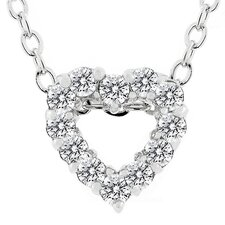 Silver-Tone Cubic Zirconia Heart Necklace