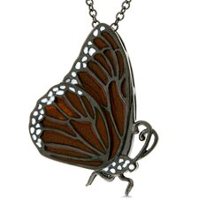 Dark Orange Cubic Zirconia Butterfly Necklace
