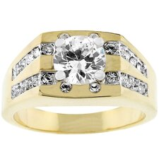 <strong>Kate Bissett</strong> Gold-Tone Men's Square Top Cubic Zirconia Ring