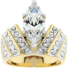 Gold-Tone Marquise Cubic Zirconia Ring