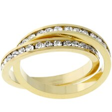 <strong>Kate Bissett</strong> Gold-Tone Criss-Cross Cubic Zirconia Eternity Ring