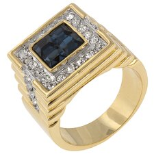 <strong>Kate Bissett</strong> Round Cut Clear Cubic Zirconia Ring with Princess Cut Sapphire