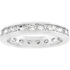 <strong>Kate Bissett</strong> Silver-Tone Embedded Cubic Zirconia Eternity Ring