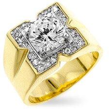 "Men' Gold-Tone ""X"" Cubic Zirconia Ring"