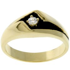 <strong>Kate Bissett</strong> Men's Gold-Tone Black Enamel Cubic Zirconia Ring