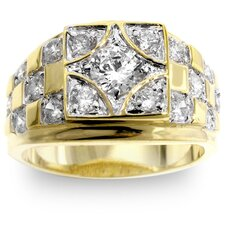 <strong>Kate Bissett</strong> Men's Two-Tone Checkerboard Cubic Zirconia Ring