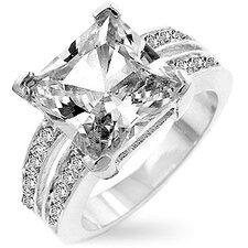 Silver-Tone Princess-Cut Cubic Zirconia Ring