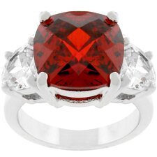 Silver-Tone Cushion-Cut Red Cubic Zirconia Ring