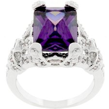 Silver-Tone Antique Inspired Purple Cubic Zirconia Ring