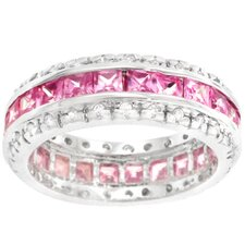 <strong>Kate Bissett</strong> Sterling Silver Pink Cubic Zirconia Eternity Band