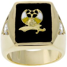 Gold-Tone Nautical Theme Shriners Strong Men's Ring