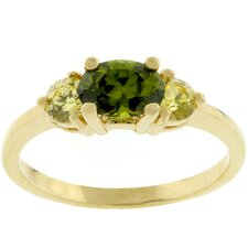 Gold-Tone Oval Composer Cut Cubic Zirconia Ring