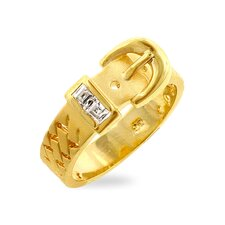 <strong>Kate Bissett</strong> Gold-Tone Cubic Zirconia Buckle Style Ring