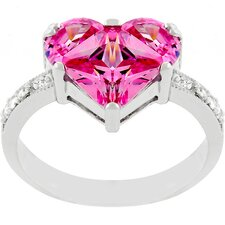 Silver-Tone Pink Ice Cubic Zirconia Heart Promise Ring