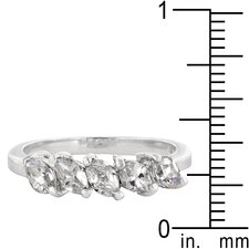 Sterling Silver Five Stone Marquise Cut Cubic Zirconia Ring
