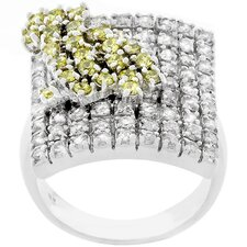 Silver-Tone Square Designed Cubic Zirconia Cocktail Ring