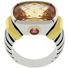Two-Tone Cubic Zirconia Designer Inspired Ring