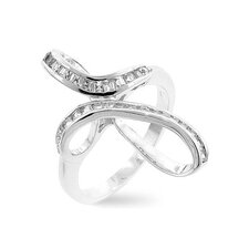 <strong>Kate Bissett</strong> Silver-Tone Fashion Cross-Twisted Cubic Zirconia Ring