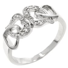 White Gold Rhodium-Bonded Cubic Zirconia Hearts Ring