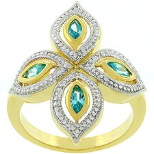 <strong>Kate Bissett</strong> Gold-Plated Aqua Luxe Crystal Clover Ring