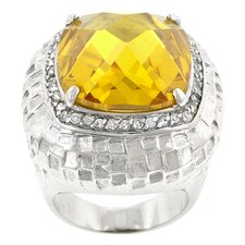 <strong>Kate Bissett</strong> Yellow and Clear Cubic Zirconia Citrine Dome Ring