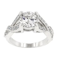 Round Cut Clear Cubic Zirconia Engagement Silver-Tone Ring