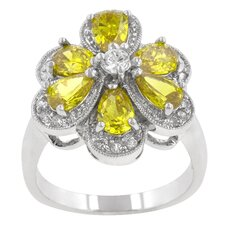 Yellow and Clear Cubic Zirconia Yellow Daisy Ring