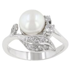 White Cultured Pearl and Clear Cubic Zirconia Fleur Ring